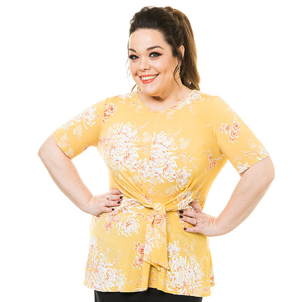 10% off Just Be You Printed Tie Top