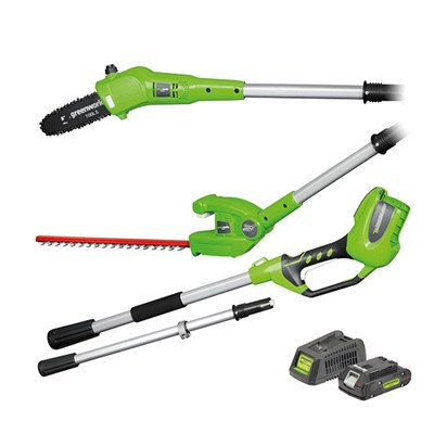 Greenworks 24V Long Reach 2 in 1 Hedge Trimmer & Pruner with Battery & Charger