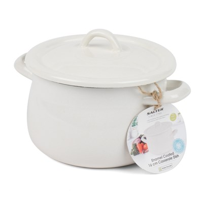 Salter Cream/Blue Enamel Coated Casserole Pan 16cm