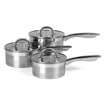 Salter Timeless Collection Stainless Steel 3pc Saucepan Set