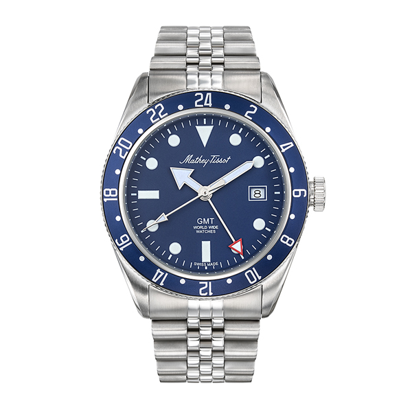 Mathey Tissot Gents GMT Rolly with Stainless Steel Bracelet Blue
