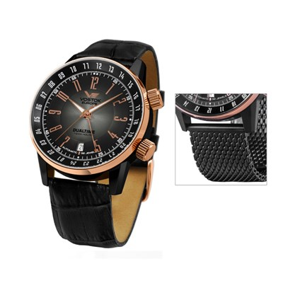 Vostok Europe Gent's Gaz-14 Limousine PVD Plated Dual Time Automatic Watch with Interchangeable Strap