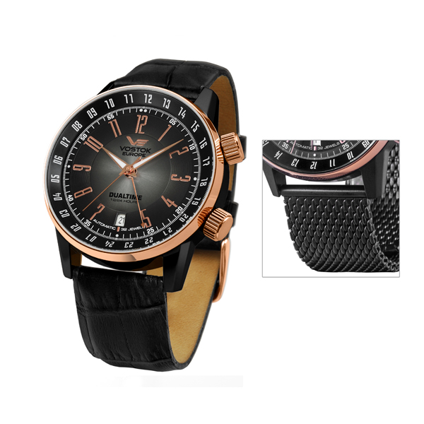 Vostok Europe Gent's GAZ-14 Limousine PVD Plated Dual Time Automatic Watch with Interchangeable Strap Black
