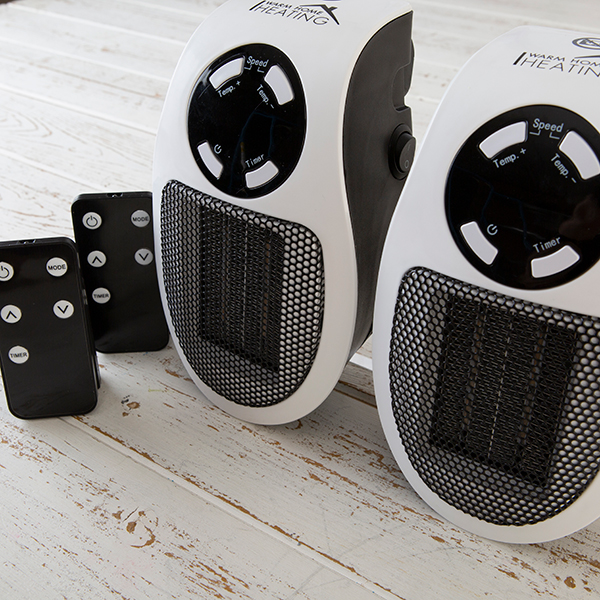 Warm Home Ceramic Plug-in Heater with Variable Speed Timer and Function (Twin Pack) No Colour