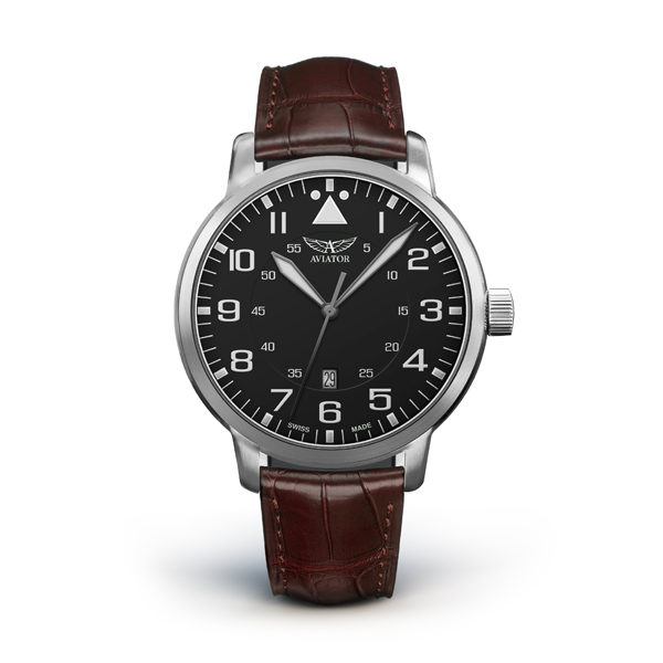 Aviator Airacobra Gent's Swiss Ltd Edt Watch with Genuine Leather Strap Black/White