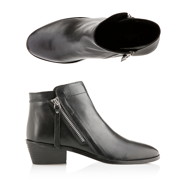 Leather Collection Double Zip Boot Black