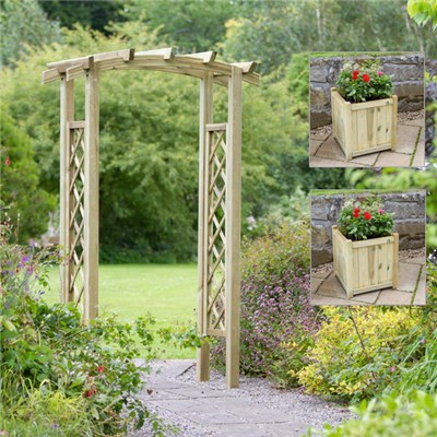Starlight Arch with 2 Medium Hollywell Planters