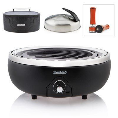Portable BBQ Grill with Bag & Thermostat Lid with Set of 2 Electric Seasoning Mills