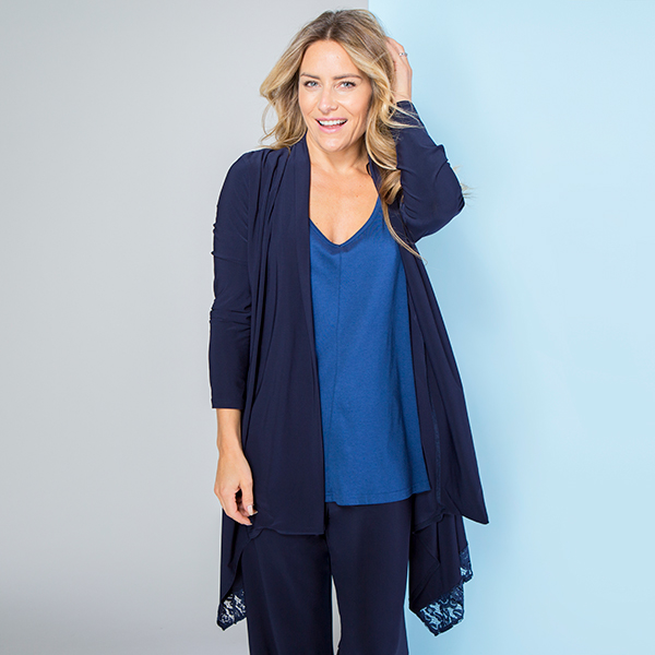 Cruise Away Lace Trim Soft Jacket Navy