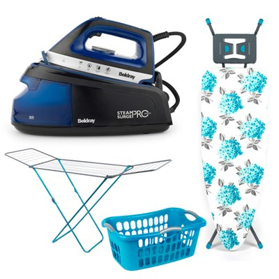 Beldray Steam Surge Pro Iron 2400W with Beldray Invincible Ironing Board, Beldray 18m Clothes Airer and Beldray Hip-Hugger Laundry Basket