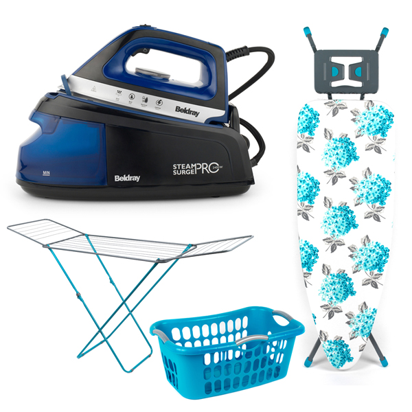 Beldray Steam Surge Pro Iron 2400W with Invincible Ironing Board, Clothes Airer 18m and Hip-Hugger Laundry Basket No Colour