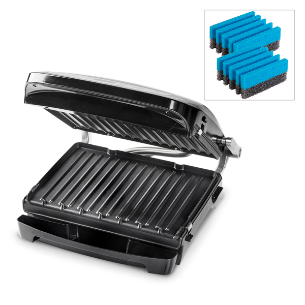 George Foreman Evolve 6 Portion Grill with Deep Dish and Cleaning Sponges No Colour