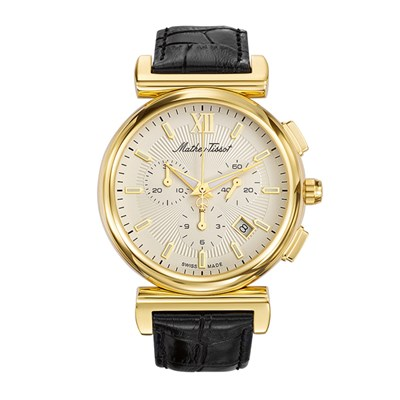 Mathey-Tissot Gent's Elegance Chronograph Watch with Genuine Leather Strap