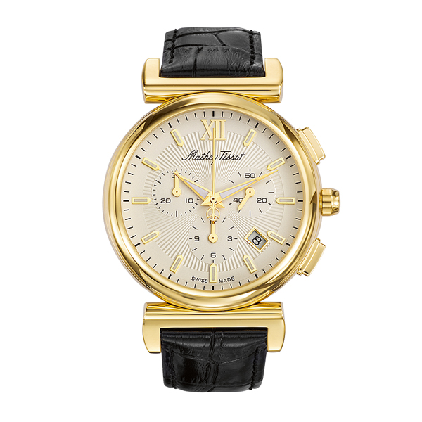 Mathey-Tissot Gent's Elegance Chronograph Watch with Genuine Leather Strap Gold