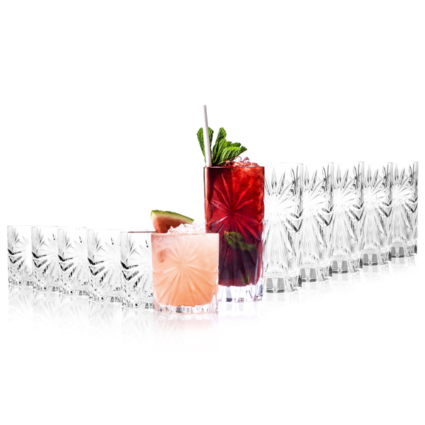 RCR Oasis Crystal Hi-Ball Cocktail Tumblers 360ml and Short Whisky Glasses 320ml (12 Pack) No Colour