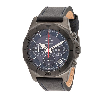 Swiss Military By Chrono Gent's PVD Solar Powered Chronograph Watch with Genuine Leather Strap