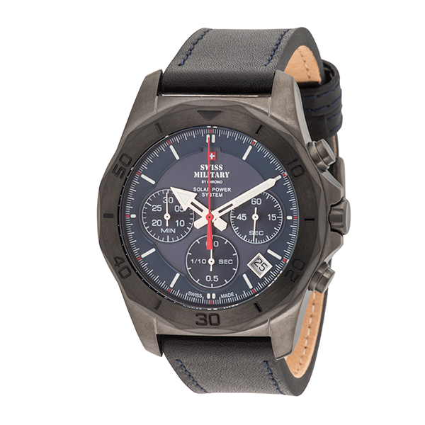Swiss Military By Chrono Gent's PVD Solar Powered Chronograph Watch with Genuine Leather Strap Black/Blue