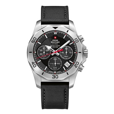 Swiss Military By Chrono Gent's Worlds Powered Chronograph Watch with Genuine Leather Strap