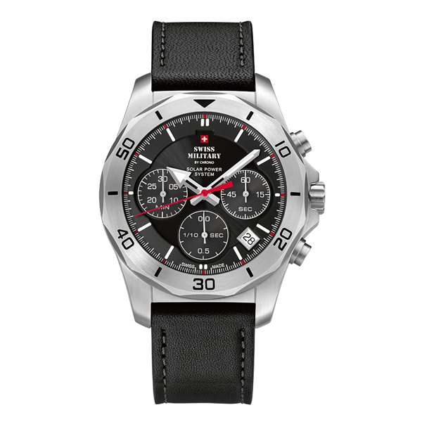 Swiss Military By Chrono Gent's Worlds Powered Chronograph Watch with Genuine Leather Strap Black/Silver