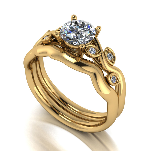 Moissanite 9ct Gold 1.05ct eq Round Brilliant Centre Vine Set Yellow Gold