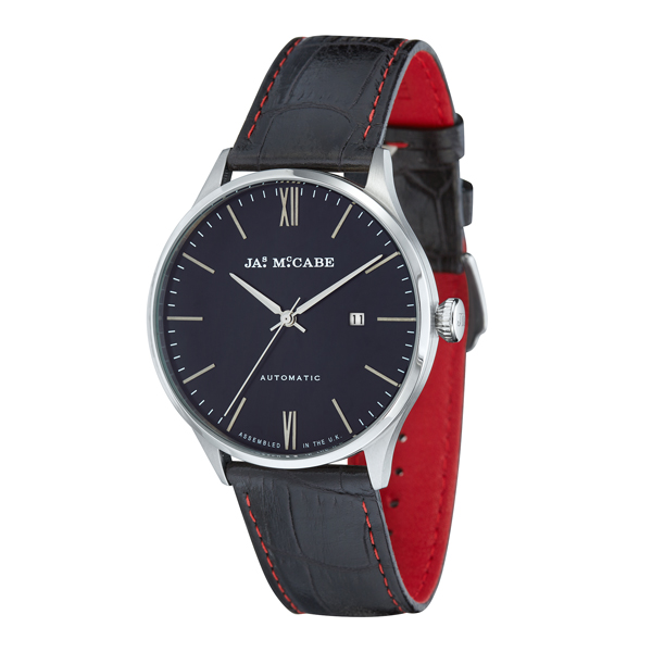 James McCabe Gent's Automatic London Watch with Genuine Leather Strap Blue
