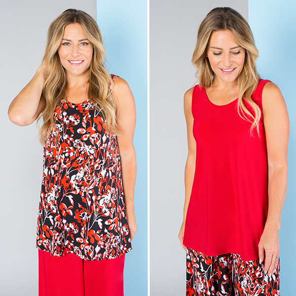 Nicole Print and Plain Cami Tops (2 Pack) Red Floral