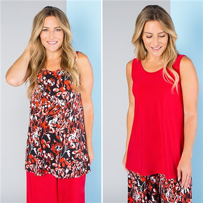 Nicole Print and Plain Cami Tops (2 Pack)