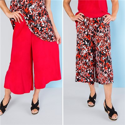 Nicole Print and Plain Culotte Trousers (2 Pack)
