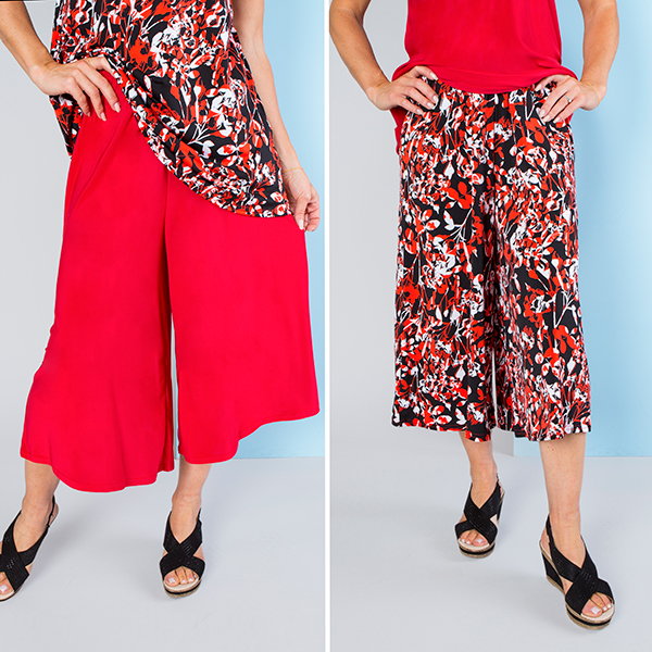 Nicole Print and Plain Culotte Trousers (2 Pack) Red Floral