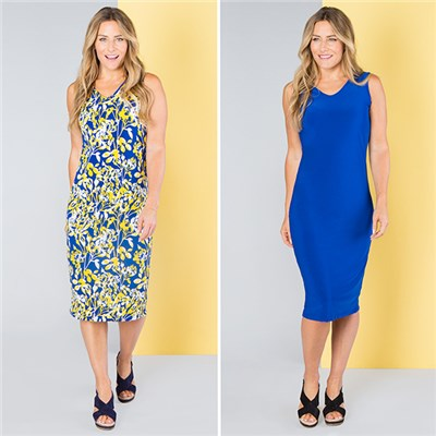 Nicole Print and Plain Midi Dress (2 Pack)