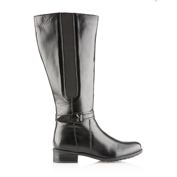 Leather Collection Flat Tall Boot Black