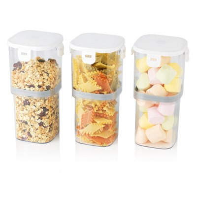 GOURMETmaxx White Adjustable Vacuum Food Storage Containers 3pc Set 1000ml