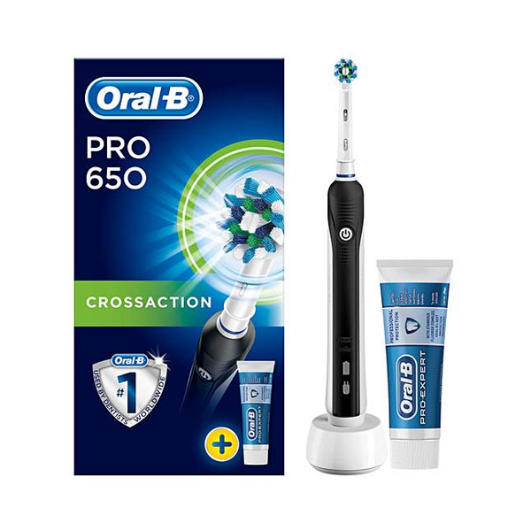 Oral-B Pro 650 Cross Action Electric Toothbrush Rechargeable Powered by Braun No Colour