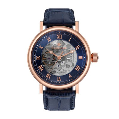 Thomas Earnshaw Gents Beaufort Skeleton Automatic Watch with Genuine Leather Strap and Gift