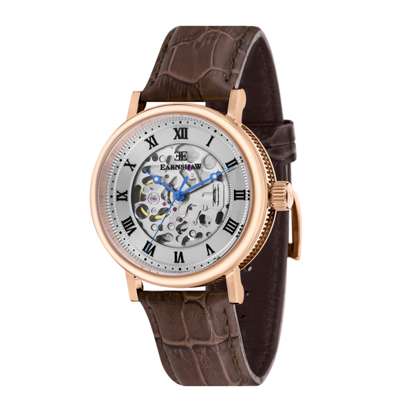 Thomas Earnshaw Gents Beaufort Skeleton Automatic Watch with Genuine Leather Strap Rose Gold