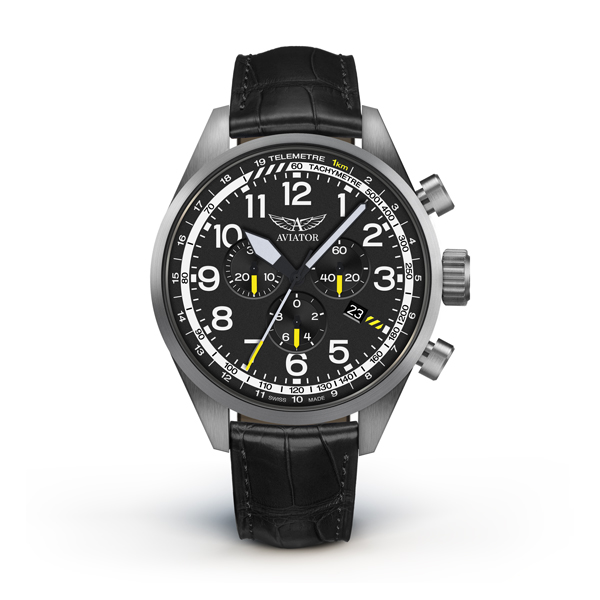 Aviator Airacobra Gent's Swiss Chronograph Watch with Genuine Leather Strap Black