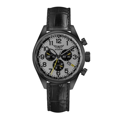 Aviator Airacobra Gent's Swiss PVD Chronograph With Genuine Leather Strap