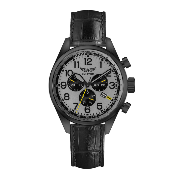 Aviator Airacobra Gent's Swiss PVD Chronograph With Genuine Leather Strap Grey