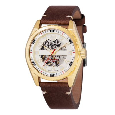 Swiss Eagle Gent's Engineer Automatic Watch with Genuine Leather Strap