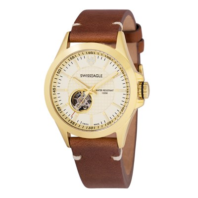 Swiss Eagle Gent's Scout Automatic Watch with Genuine Leather Strap