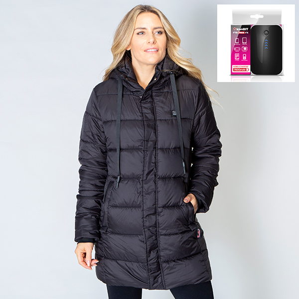 ThermoFusion Heated Longline Parka Jacket with 7800mAh Battery Pack Black