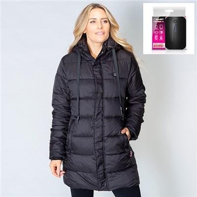 ThermoFusion Heated Longline Parka Jacket with 7800mAh Battery Pack