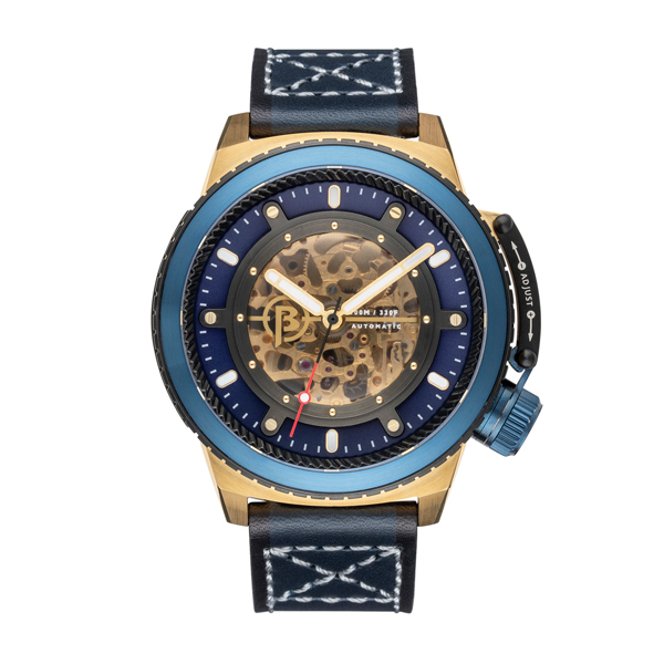 Ballast Gent's Trafalgar Skeleton Automatic IP Plating Watch with Genuine Leather Strap Blue