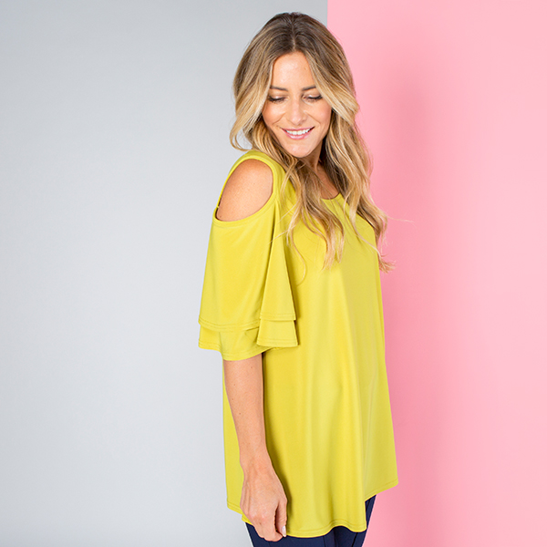 Styled By Cold Shoulder Double Frill Sleeve Top Lime