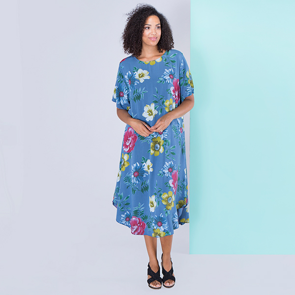 Sugar Crisp Floral Print Dress Denim