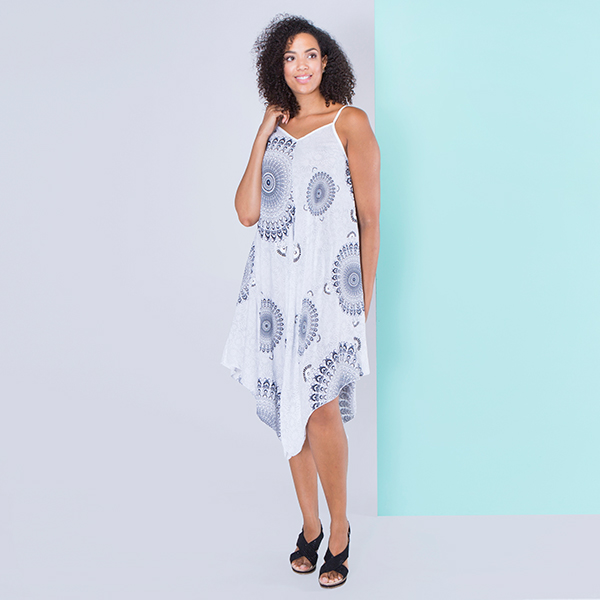 Sugar Crisp Circle Print Strap Dress White