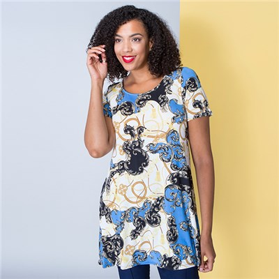 Nouvelle Short Sleeve Chain Print Tunic