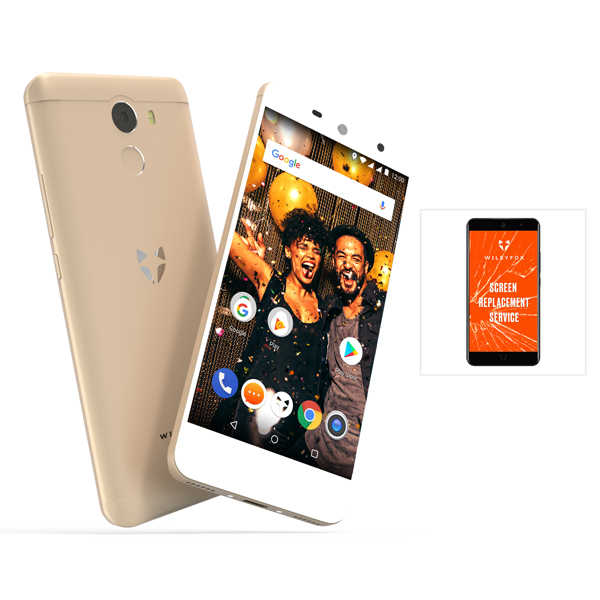 Wileyfox Swift 2X -  4G Smartphone, 5.2 Inch HD Curved Gorrila Glass Screen, 3GB RAM, 32GB plus a Free One Year Screen Replacement Guarantee Gold