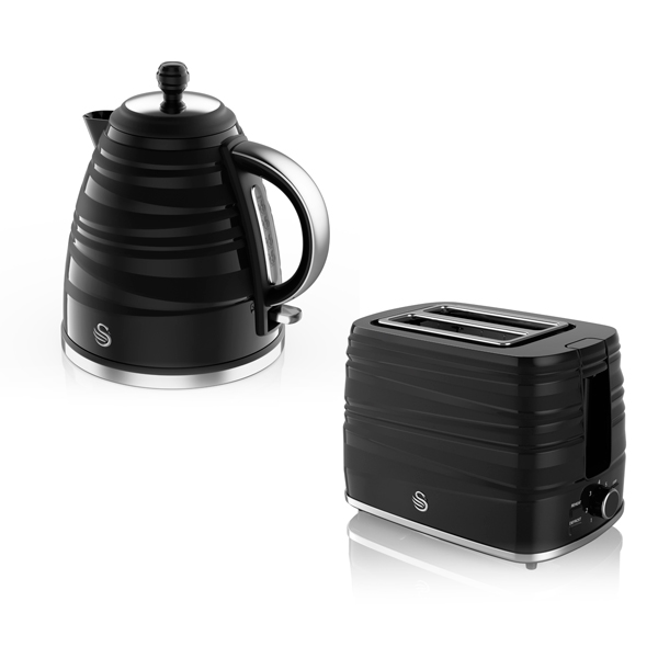 Swan Symphony Jug Kettle 1.7L and 2 Slice Toaster Set Black