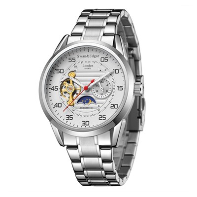 Swan & Edgar Gent's Rally Timer Automatic Watch with Stainless Steel Bracelet